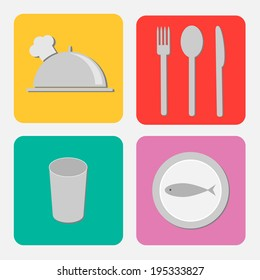Silver platter cloche, fork, spoon, knife, glass and plate with fish. Flat design icon set. Vector illustration