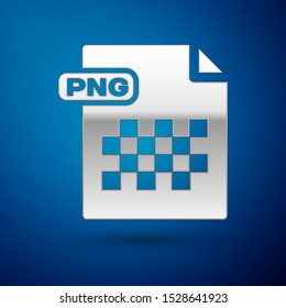 Silver PNG file document. Download png button icon isolated on blue background. PNG file symbol.  Vector Illustration