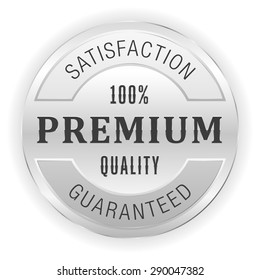 Silver premium quality seal on white background