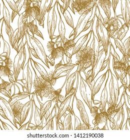 Silver princess flower minimalist seamless pattern. Floral background. Vector illustration
