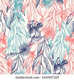 Silver princess flower seamless pattern. Floral background. Vector illustration