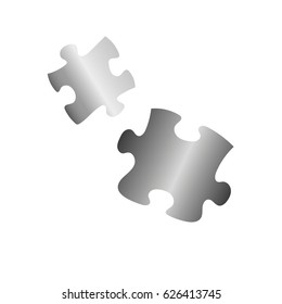 Silver puzzle on the white background.Vector illustration