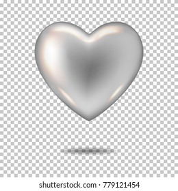 Silver realistic heart, isolated.