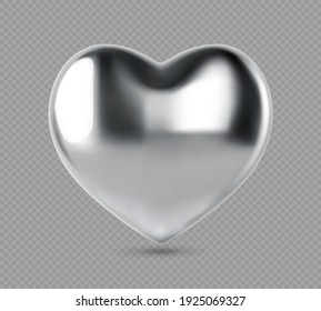Silver realistic heart. Vector illustration of metal heart shaped. Silver glittering heart shape isolated on transparent background.