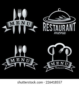 silver restaurant and menu elements set