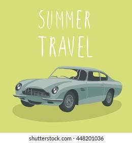 Silver retro sport car isolated. Vector illustration. Cartoon car