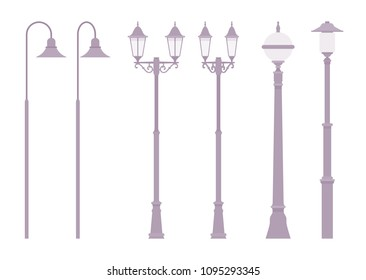 Silver retro street lamp. Classic light pole, tall lamppost illuminating road for safe walking, driving. Landscape architecture, lighting system urban design. Vector flat style cartoon illustration