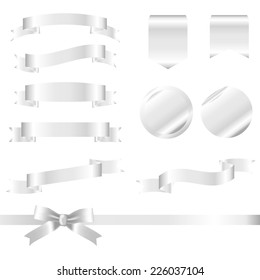 Silver Ribbons Set isolated On White Background. Vector Illustration