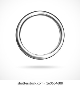 Silver ring copyspace torus round eps10 vector empty frame