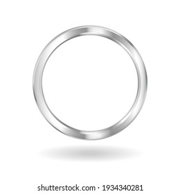 Silver ring frame. Metall white ornament banner with shiny round shape for bright image and avatars in social vector media.
