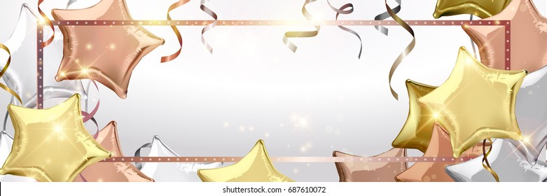 Silver, rose gold (bronze) and gold star shaped balloons. Vector illustration.Wallpaper.flyers, invitation, posters, brochure, banners
