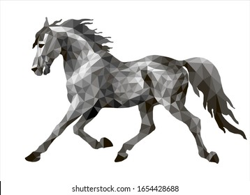 silver running pony drawn in polygonal style, monochrome isolated image on a white background