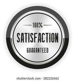 Silver satisfaction badge with black border on white background