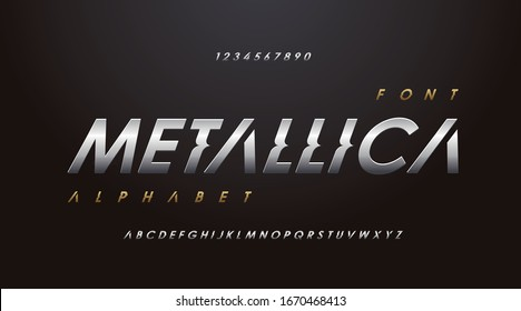Silver Sci-Fi Technology Font, Luxury classic minimal typeface typo typography digital modern sport classic Alphabet Font. uppercase lowercase and number. Vector illustration. - Shutterstock ID 1670468413