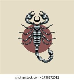 silver scorpion tattoo vector design