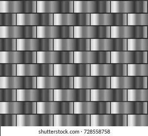 Silver seamless background in the form of a brick wall, chain mail. Silver gradient pattern