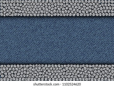 Silver sequine stripes on blue jeans background.