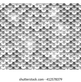 Silver sequins seamless pattern. Tileable vector background.