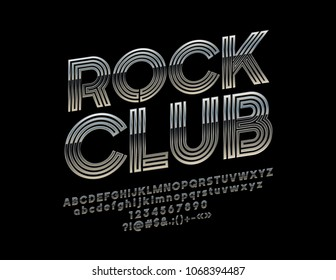 Silver set of Alphabet Letters, Numbers and Punctuation Symbols. Chrome Vector Logotype with text Rock Club