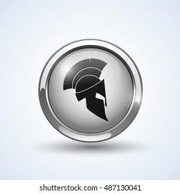 Silver shield with helmet, vector logo illustration