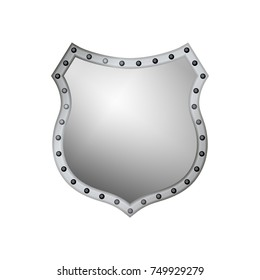 Silver shield shape icon. 3D gray emblem sign isolated on white background. Symbol of security, power, protection. Badge shape shield graphic design Vector illustration