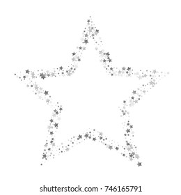 Silver Shimmering Stars on White Background with Free Space. Greeting Card, Invitation, Wedding Template with Glittering Silver Stars Confetti. White Sky Vector Background for Luxury, Glamour Design.