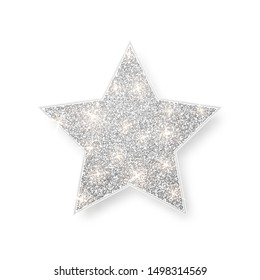 Silver shiny glitter glowing star with shadow isolated on white background. Vector illustration.