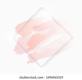 Silver shiny glowing rhombus frame with rose pastel brush strokes isolated on white. Christmas card design. Golden luxury line border for invitation, sale, fashion, wedding, photo etc. Vector