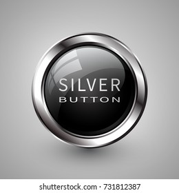Silver shiny modern element. Silver Web button. Vector sticker. Part of set.