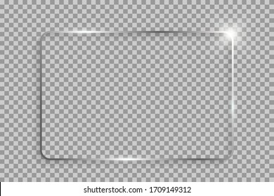 Silver shiny rectangle frame with shadows and highlights isolated on a transparent background.