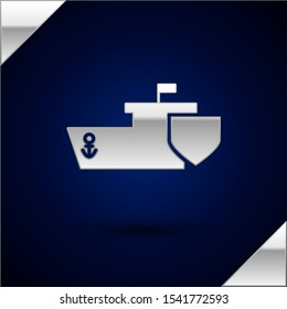 Silver Ship with shield icon isolated on dark blue background. Insurance concept. Security, safety, protection, protect concept.  Vector Illustration