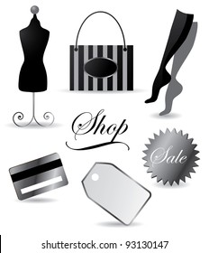Silver Shopping Icons EPS 8 vector, grouped for easy editing. No open shapes or paths.