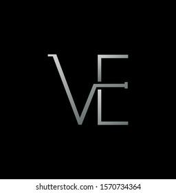 Silver Simple Line  Letter V, E, VE,  EV logo icon. Creative vector logo icon design  concept  for business or company identity.