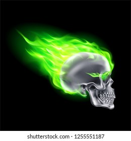 Silver Skull on Green Fire with Flames. Illustration of Speeding Flaming Skull from the Side on Black Background
