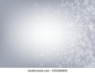 Silver Snow Vector Gray Background. Holiday Snowflake Banner. White Falling Illustration. Xmas Snowfall Card.