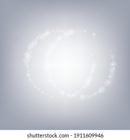 Silver Snowfall Vector Gray Background. Winter Snow Backdrop. White Xmas Card. Fantasy Snowflake Design.