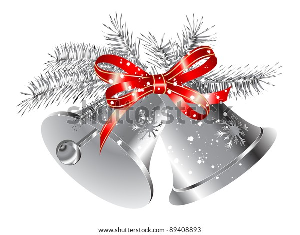 Silver snowy bells with red ribbon