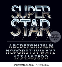 Silver sparkling glossy vector set of letters, symbols and numbers