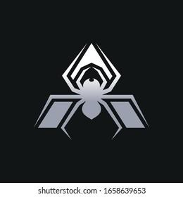 Silver spider logo on black background