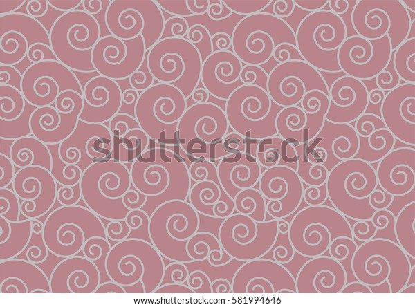 Silver Spiral repeating seamless pattern vector background. Oriental Silver Swirl on Rose Gold for invitation. Japanese style digital paper.