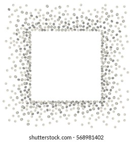 Silver splash or glittering spangles square frame with empty center for text. Silver glittering  rectangle  made of tiny uneven round dots on white background. Vector illustration.