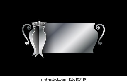 Silver sports cup of champions with space for text. Abstract 3d trophy banner for football, basketball, soccer and tennis competition.
