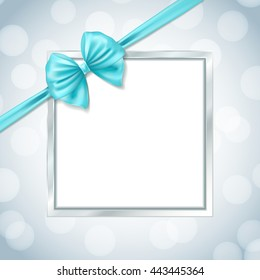 silver square frame with ribbon bow in the corner on blurry background. vector illustration