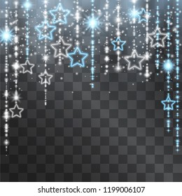 Silver star light tinsel light effect, decorative icicle hanging garland, blue glitter curtains for Christmas, winter holidays. Shining sparkling glitter for celebration banners, posters, invitations.