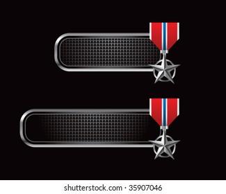 silver star medal on black tabs