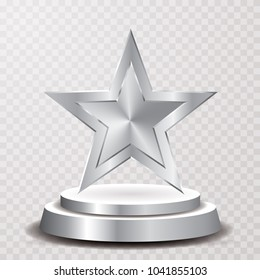 silver star on podium, entertainment and show business vector background, layered and editable