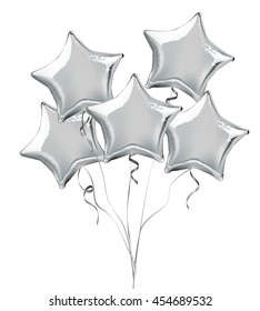 Silver star shaped foil helium balloons. Detailed and realistic Vector illustration