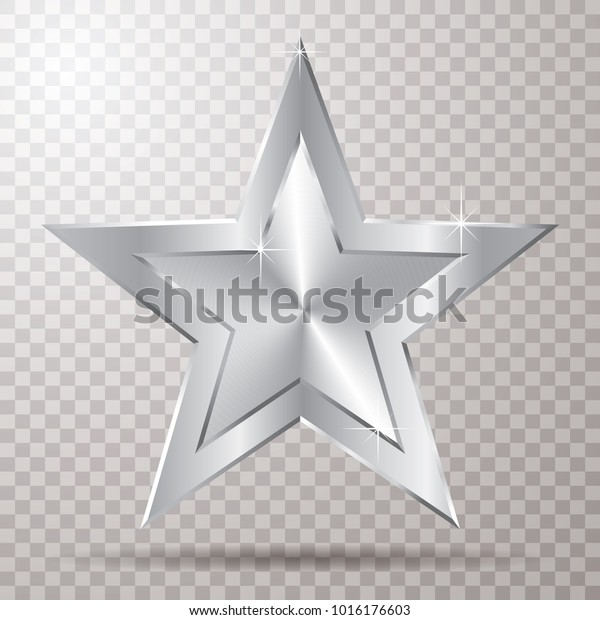 silver star with transparent shadow, vector template for show business or something else