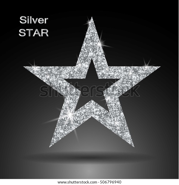 Silver star vector banner. Silver glitter . Template , card, vip, exclusive, certificate, gift luxury privilege voucher store present shopping