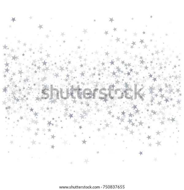 silver stars background, sparkling christmas lights confetti falling isolated on white. magic shining Flying stars glitter cosmic backdrop, sparkle vector border.